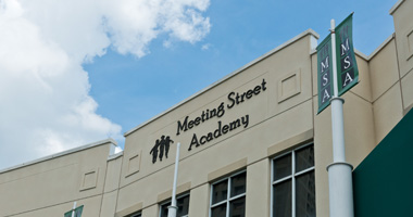 Facade of the Meeting Street Academy building