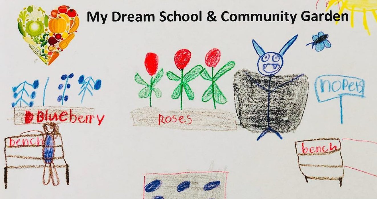 child's drawing of a garden