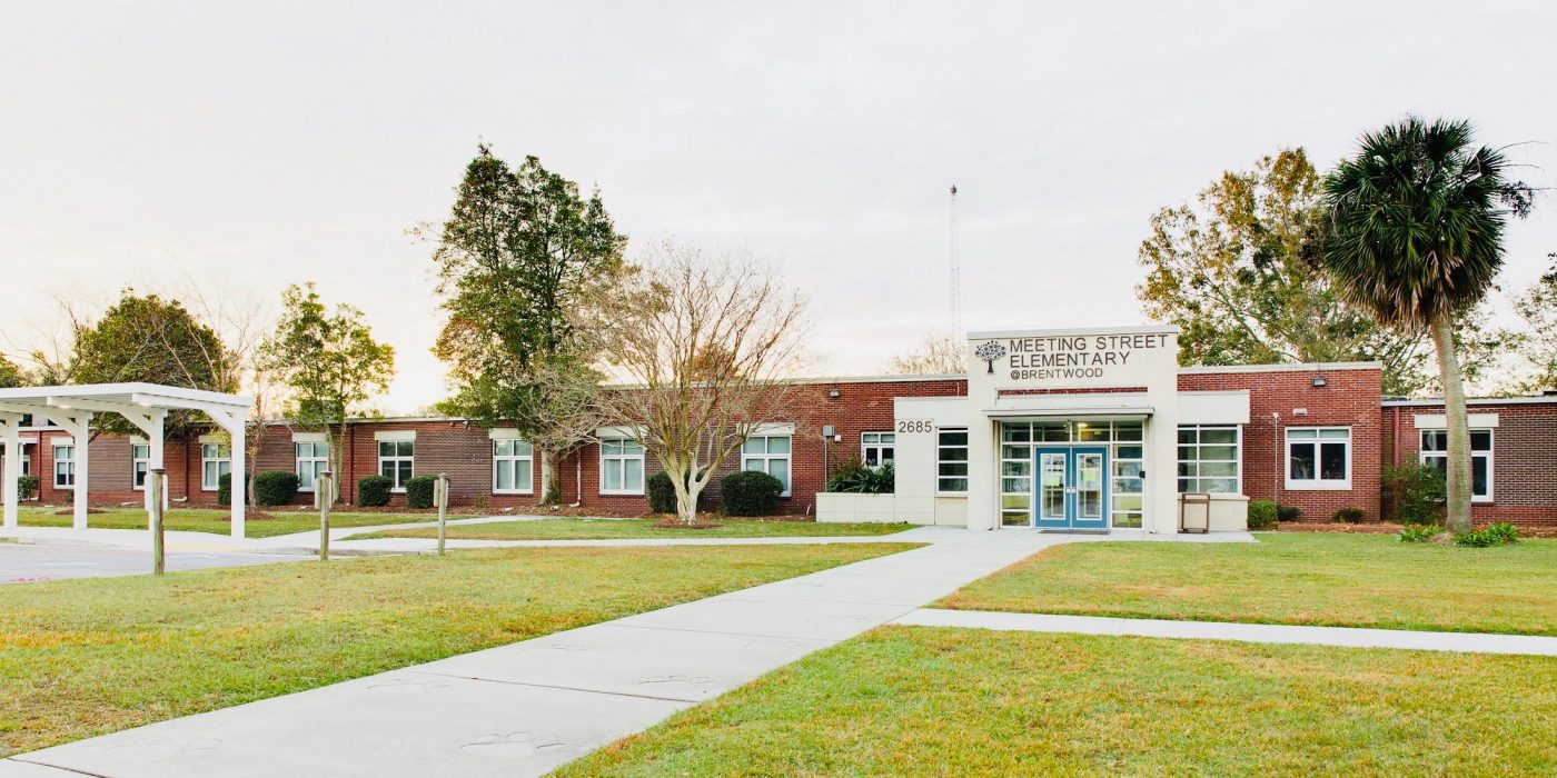 school building viewed from the road